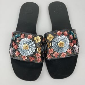 NWT LF/Life leather slide on sandals Linah floral